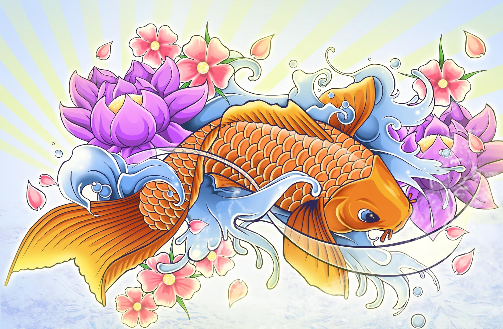 Collection nature 39 s show fish by techgnotic on deviantart for Koi fish pond drawing