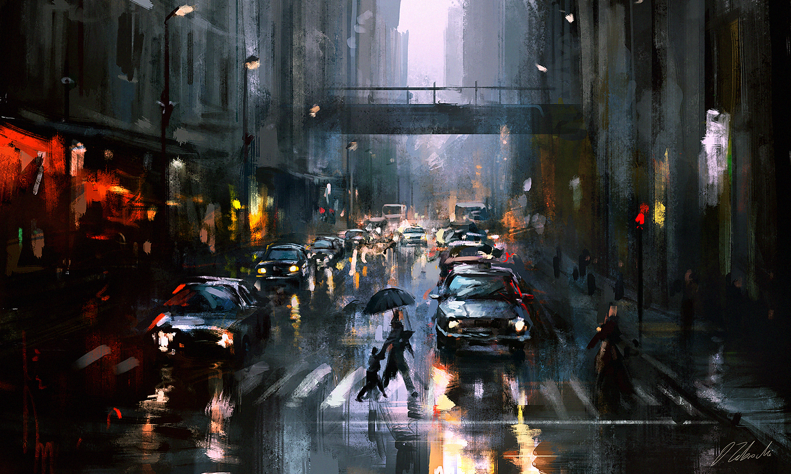 Oil Paintings Cities In Rain Shanghai