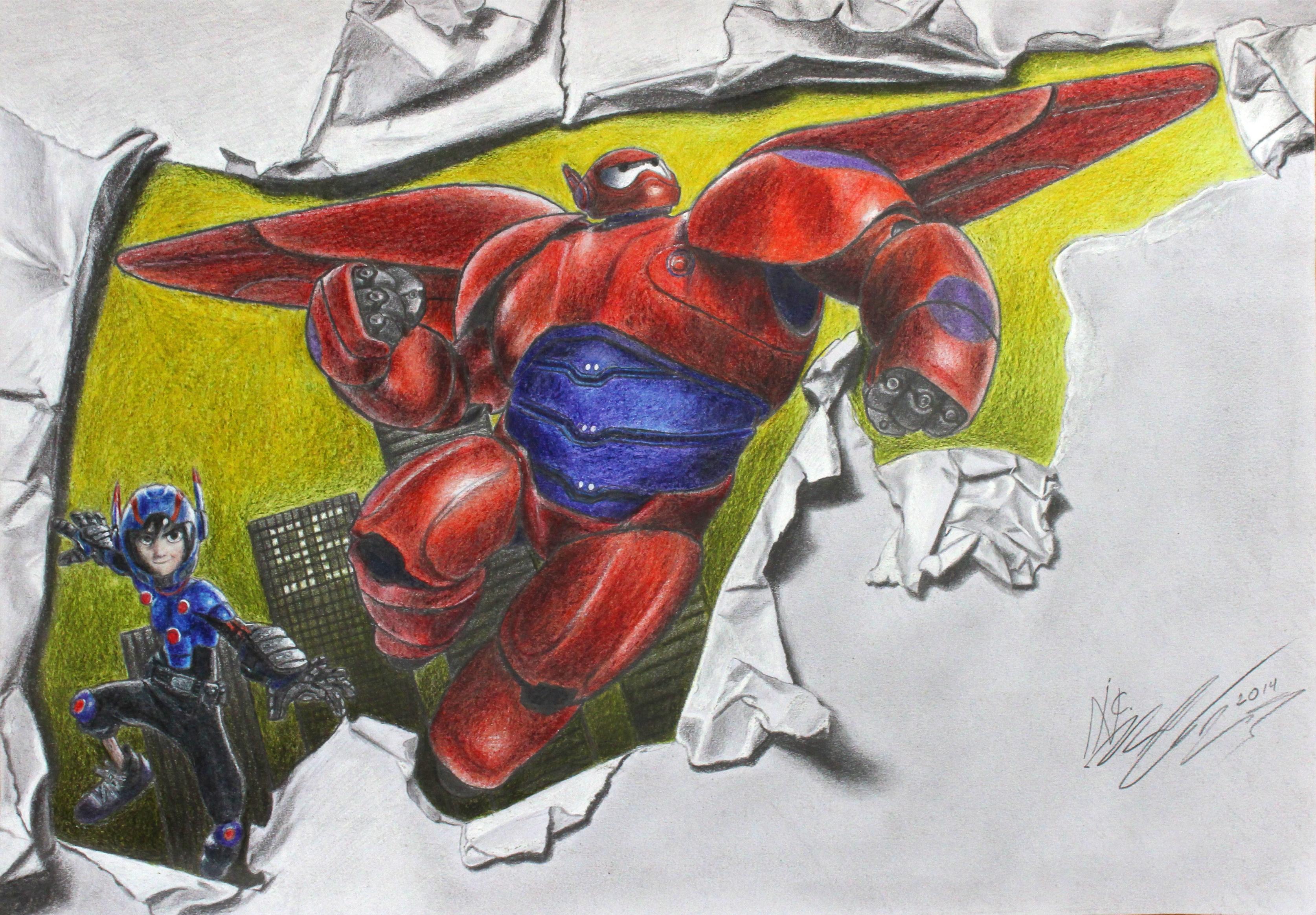 Drawing Hiro Hamada And Baymax From Big Hero 6 By SuperNikolai1996